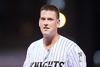 Casey Gillaspie (39) of the Charlotte Knights during the game against the Gwinnett Braves at BB&T BallPark on August 4, 2017 in Charlotte, North Carolina.  The Knights defeated the Braves 7-5 in a game shortened to 8 innings due to rain.  (Brian Westerholt/Four Seam Images)