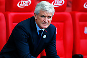 9th September 2017, bet365 Stadium, Stoke-on-Trent, England; EPL Premier League football, Stoke City versus Manchester United; Stoke City Manager Mark Hughes watches on