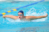 14 January 2012:  FIU's Alice Horton competes in the 100 yard butterfly as the FIU Golden Panthers won the meet with the Central Connecticut State University Blue Devils at the Biscayne Bay Campus Aquatics Center in Miami, Florida.