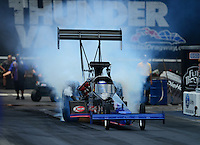 Jun. 16, 2012; Bristol, TN, USA: NHRA top fuel dragster driver Pat Dakin during qualifying for the Thunder Valley Nationals at Bristol Dragway. Mandatory Credit: Mark J. Rebilas-