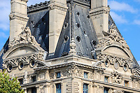 Paris, France. View from a boat on the river Seine. Pavillon de Flore, part of Louvre.