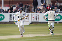Nick Gubbins of Middlesex gets off the mark with a single during Middlesex CCC vs Lancashire CCC, Specsavers County Championship Division 2 Cricket at Lord's Cricket Ground on 11th April 2019