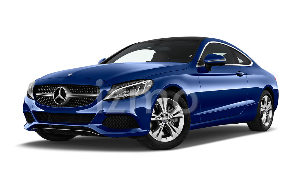 Stock pictures of low aggressive front three quarter view of 2017 Mercedes Benz C-Class C300 2 Door Coupe Low Aggressive