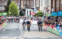 Picture by Alex Broadway/SWpix.com - 03/05/2018 - Cycling - 2018 Tour de Yorkshire - Stage 1: Beverley to Doncaster - Harry Tanfield of Canyon Eisberg sprints to win the stage.