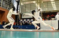 BOGOTA – COLOMBIA – 26 – 05 – 2017: Reyner Henriquez (Izq.) de Cuba combate con Adam Rodney (Der.) de Estados Unidos, durante Varones Mayores Epee del Gran Prix de Espada Bogota 2017, que se realiza en el Centro de Alto Rendimiento en Altura, del 26 al 28 de mayo del presente año en la ciudad de Bogota.  / Reyner Henriquez (L) from Cuba, fights with Adam Rodney (R) from United States, during Senior Men´s Epee of the Grand Prix of Espada Bogota 2017, that takes place in the Center of High Performance in Height, from the 26 to the 28 of May of the present year in The city of Bogota.  / Photo: VizzorImage / Luis Ramirez / Staff.