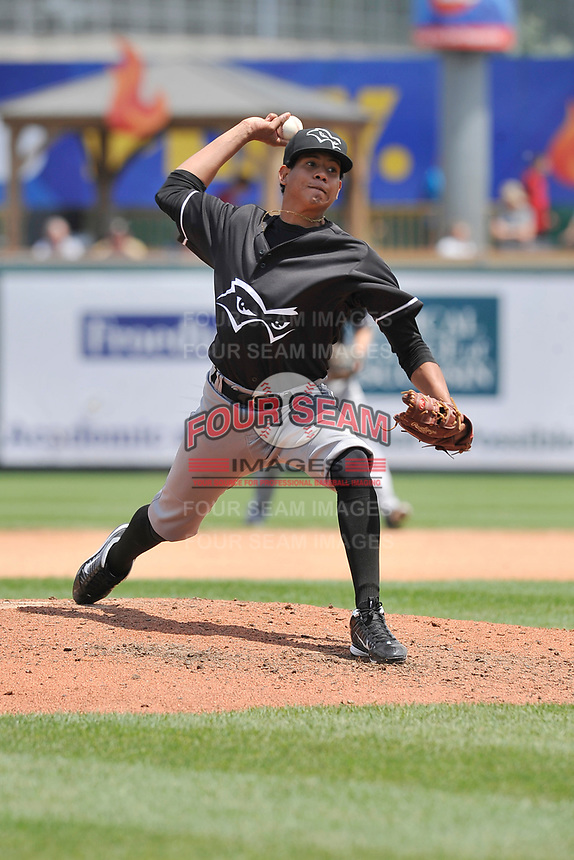 Quad Cities River Bandits starting pitcher Gabriel Valdez (11) throws during a game against the Wisconsin Timber Rattlers at Fox Cities Stadium on June 27, 2017 in Appleton, Wisconsin.  Wisconsin lost 6-5.  (Dennis Hubbard/Four Seam Images)