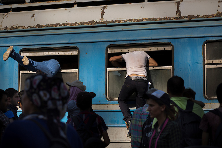 """Migrants waiting for a train in Gevgelija, Macedonia  after crossing the border on foot from Greece. As many as 500 people crowd onto each train (there are three per day) in order to travel to the Serbian border, which is now permitted under Macedonian law. Since the new law was enacted in June, a huge increase in the numbers of people traveling the """"Western Balkan route"""" to EU countries like Germany and Sweden, where they hope to receive asylum. PHOTO BY JODI HILTON"""