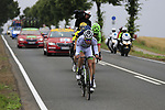 The breakaway group Yoann Offredo (FRA) Wanty-Groupe Gobert, Thomas Boudat (FRA) Direct Energie, Taylor Phinney (USA) Cannondale Drapac and Laurent Pichon (FRA) Fortuneo-Oscaro approach Titz during Stage 2 of the 104th edition of the Tour de France 2017, running 203.5km from Dusseldorf, Germany to Liege, Belgium. 2nd July 2017.<br /> Picture: Eoin Clarke | Cyclefile<br /> <br /> <br /> All photos usage must carry mandatory copyright credit (&copy; Cyclefile | Eoin Clarke)
