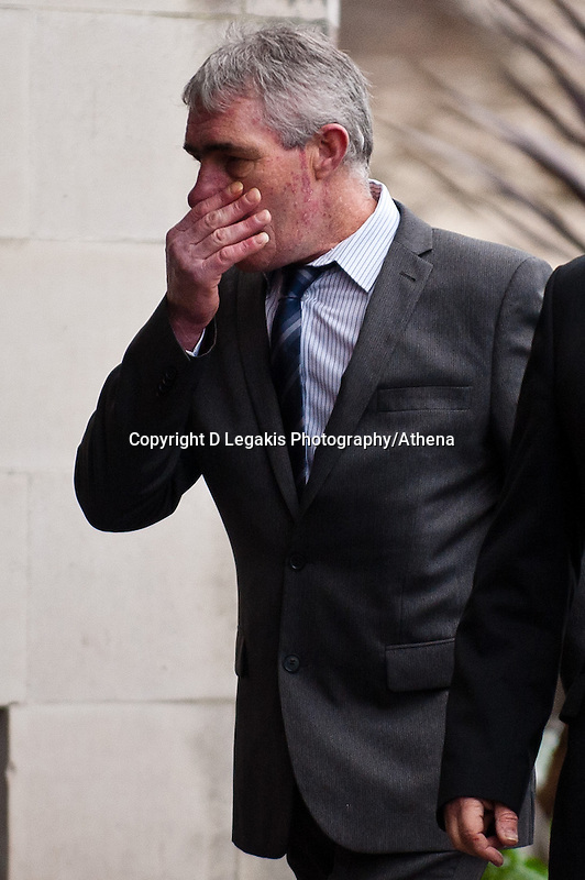 Monday 16 December 2013<br /> Pictured:Mine owners  arrive at Swansea Crown court<br /> Re: Gleision Mine Directors at Swansea Crown Court. A mine manager has pleaded not guilty to manslaughter over the deaths of four miners at a Swansea Valley colliery. Malcolm Fyfield, 58, was manager of the Gleision drift mine near Cilybebyll when it flooded in September 2011