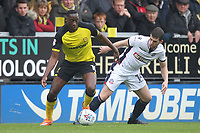 Bolton Wanderers Jon Flanagan in action with Burton Albion's Lucas Atkins <br /> <br /> Photographer Mick Walker/CameraSport<br /> <br /> The EFL Sky Bet Championship - Burton Albion v Bolton Wanderers - Saturday 28th April 2018 - Pirelli Stadium - Burton upon Trent<br /> <br /> World Copyright &copy; 2018 CameraSport. All rights reserved. 43 Linden Ave. Countesthorpe. Leicester. England. LE8 5PG - Tel: +44 (0) 116 277 4147 - admin@camerasport.com - www.camerasport.com