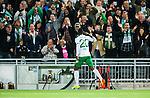 Stockholm 2014-09-28 Fotboll Superettan Hammarby IF - IK Sirius :  <br /> Hammarbys Amadayia Rennie firar sitt 4-1 m&aring;l framf&ouml;r Hammarbys supportrar<br /> (Foto: Kenta J&ouml;nsson) Nyckelord:  Superettan Tele2 Arena Hammarby HIF Bajen Sirius IKS jubel gl&auml;dje lycka glad happy supporter fans publik supporters
