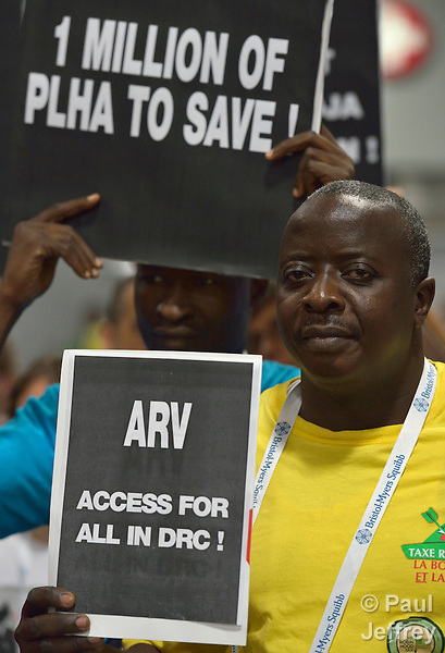 Protestors from the Democratic Republic of the Congo call for more international funding of HIV prevention and treatment programs in their country during the XIX International AIDS Conference, which brought more than 23,000 people to Washington, DC, in July 2012.
