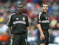 3 April 2004: DC United Ben Olsen and Freddy Adu in action against Earthquakes at RFK Stadium in Washington D.C..  Credit: Michael Pimentel / ISI