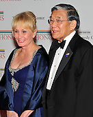Former United States Secretary of Transportation Norman Mineta and his wife, Deni, arrive for the formal Artist's Dinner at the United States Department of State in Washington, D.C. on Saturday, December 4, 2010..Credit: Ron Sachs / CNP.