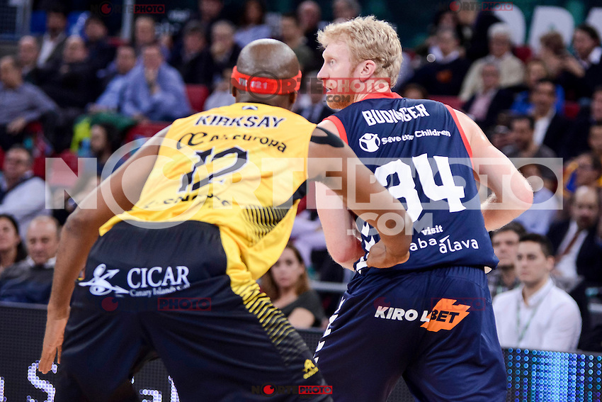 Baskonia's Chase Budinger and Iberostar Tenerife's Tariq Kirksay during Quarter Finals match of 2017 King's Cup at Fernando Buesa Arena in Vitoria, Spain. February 16, 2017. (ALTERPHOTOS/BorjaB.Hojas) /Nortephoto.com