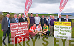 The launch of the Garvey's Supervalu County Senior Football Championship at the Skellig Hotel, Dingle, on Monday afternoon. L-r: Jim Garvey, Tomas Garvey (sponsors), Jimmy Bambury (Dingle Club), Patrick O'Sullivan (Chairman County Board), Christie Killeen (CCB), Kerry manager Eamonn Fitzmaurice, Tommy Griffin (Dingle Club), Breandan Fitzgerald (pro West Kerry), Maura Murphy (secretary Dingle Club), Derry Murphy, Muiris Ó Fiannachta, John Denny O'Connor (Dingle Club), Tim Moynihan (Garvey's Group) and, front, players Paul Geaney, Marc Ó Sé and Killian Young.
