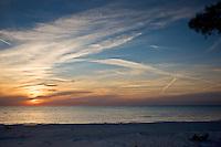Idyllic shoreline and sandy beach at sunset on Anna Maria Island, Florida, United States of America