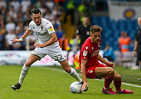 Leeds United's Jack Harrison battles with Nottingham Forest's Matty Cash<br /> <br /> Photographer Alex Dodd/CameraSport<br /> <br /> The EFL Sky Bet Championship - Leeds United v Nottingham Forest - Saturday 10th August 2019 - Elland Road - Leeds<br /> <br /> World Copyright © 2019 CameraSport. All rights reserved. 43 Linden Ave. Countesthorpe. Leicester. England. LE8 5PG - Tel: +44 (0) 116 277 4147 - admin@camerasport.com - www.camerasport.com