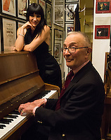 Lou Lauprete (piano) with Zoula Zazou during a  brunch at Paris Boogie Speakeasy, 256 Rue Marcadet, Paris given by Yves Riquet, the founder and owner of Paris Boogie Speakeasy, to celebrate the retirement of Zula Zazou from the Crazy Horse. The brunch included jazz, vocal by Gabrielle Janselme, and conjuring by Otto Wessley, the Crazy Horse magician. Sunday 26th April 2015.