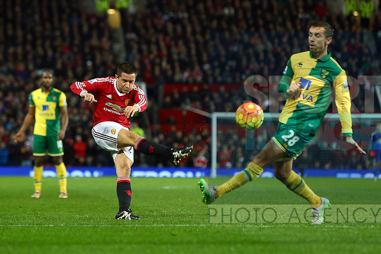 Ander Herrera of Manchester United strikes at goal - Manchester United vs Norwich City - Barclays Premier League - Old Trafford - Manchester - 19/12/2015 Pic Philip Oldham/SportImage