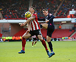 Enda Stevens of Sheffield Utd  challenged by Harry Wilson of Bournemouth during the Premier League match at Bramall Lane, Sheffield. Picture date: 9th February 2020. Picture credit should read: Simon Bellis/Sportimage