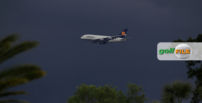 A Lufthansa A380 on approach to Miami Airport over the course during the 3rd round at the WGC Cadillac Championship, Blue Monster, Trump National Doral, Doral, Florida, USA<br /> Picture: Fran Caffrey / Golffile