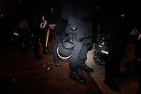 Police prepare to forcibly remove OccupyBoston protesters from their second encampment at Rose F. Kennedy Greenway a block from Dewey Square, in downtown Boston, Massachusetts, USA.  The police and city officials warned protesters that they would be forceably removed from the site by midnight.  At about 1:30am police moved into the park, arrested approximately 100 protesters, and cleared the park of all tents and other protest materials.  The protesters are part of OccupyBoston, which is part of the OccupyWallStreet movement, expressing discontent with the socioeconomic situation of the 99% of the US population who are not wealthy.  Protestors have been camping in Dewey Square since Sept. 30, 2011. Gradually, larger organizations, including major labor unions, have expressed their support for the OccupyBoston effort.