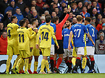 29.11.18 Rangers v Villarreal: Referee picks out Daniel Candeias for a yellow card not realising he has already booked him