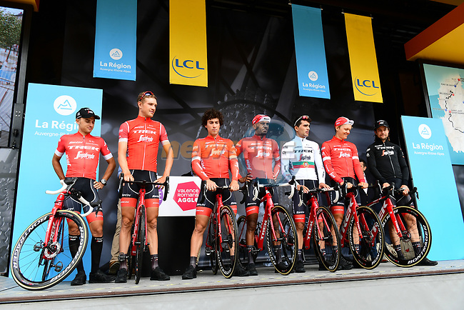 Trek-Segafredo team introduced on stage at sign on before Stage 1 of the 2018 Criterium du Dauphine 2018 running 179km from Valence to Saint-Just-Saint-Rambert, France. 4th June 2018.<br /> Picture: ASO/Alex Broadway | Cyclefile<br /> <br /> <br /> All photos usage must carry mandatory copyright credit (© Cyclefile | ASO/Alex Broadway)