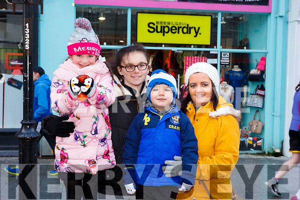 Waiting for Santa at CH Chemist Christmas Parade Tralee on Saturday were Aoife O Shea, Lauran Dowling, Sabrina O Brien, Kayden Ward O'Brien