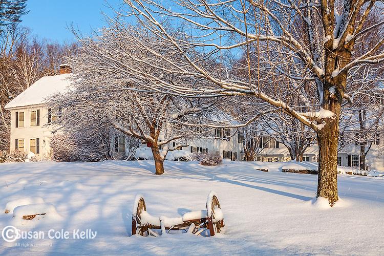 Winter at Marshland Farm in Quechee village, Hartford, VT, USA