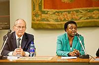 Roma 7 Ottobre 2013<br /> Il presidente del Museo della Shoah Leone Paserman il Ministro per l'integrazione, C&eacute;cile Kyenge, alla Commemorazione del 70&deg; anniversario della liberazione del campo di Ferramonti di Tarsia e della proiezione del documentario &laquo;Ferramonti, il campo sospeso&raquo;.