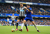2nd December 2017, Stamford Bridge, London, England; EPL Premier League football, Chelsea versus Newcastle United; Alvaro Morata of Chelsea battles with Javi Manquillo of Newcastle United
