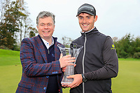 Connor O'Rourke (IRL) leading irish player with the &quot;Christie O'Connor &quot; trophy after the final round of the Monaghan Irish Challenge, Concra Wood, Monaghan, Ireland. 7-10-2018.<br /> Picture Fran Caffrey / Golffile.ie<br /> <br /> All photo usage must carry mandatory copyright credit (&copy; Golffile | Fran Caffrey)