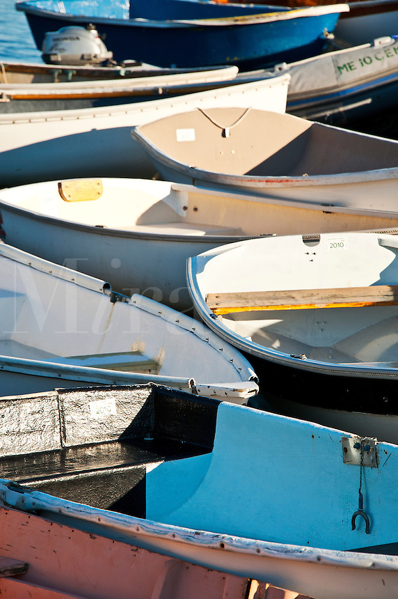 Rowboats docked in Southwest Harbor, Maine, ME, USA