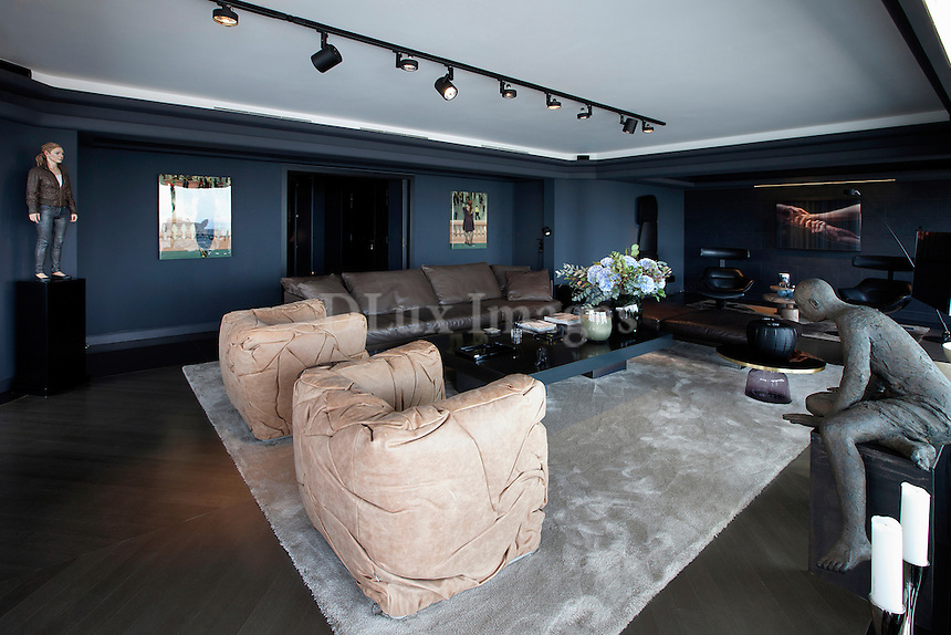 Leather armchairs in living room