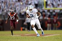 BLACKSBURG, VA - OCTOBER 19: Antoine Green #3 of the University of North Carolina runs the ball during a game between North Carolina and Virginia Tech at Lane Stadium on October 19, 2019 in Blacksburg, Virginia.