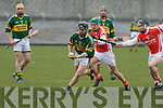 Kerry's Sean Young and Armagh's Cahill Carvill.
