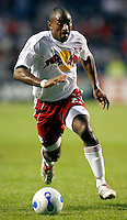New York Red Bulls defender Marvell Wynne (2) dribbles the ball.  The Chicago Fire defeated the New York Red Bulls 2-1 at Toyota Park in Bridgeview, IL on September 3, 2006..
