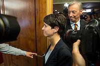 """Treffen des Zentralrat der Muslime mit AfD-Parteispitze am 23. Mai 2016 im Regent-Hotel in Berlin.<br /> Der Zentralrat der Muslime (ZDM) hatte fuehrende AfD-Politiker zu einem Gespraech eingeladen, um ueber diskriminierende und islamfeindliche Ausserungen und Passagen im AfD-Parteiprogramm zu reden. Die AfD-Politiker liessen das Gespraech nach kurzer Zeit platzen und beschuldigten den ZDM """"nicht auf Augenhoehe"""" mit der AfD reden und sie """"erpressen"""" zu wollen.<br /> Im Bild: Vorne Frauke Petry, AfD-Vorsitzende; hinten Armin-Paul Hampel (eigentlich Armin-Paulus Hampel), ehemaliger ARD-Journalist, Vorstandsmitglied und Landesvorsitzender der AfD in Niedersachsen.<br /> 23.5.2016, Berlin<br /> Copyright: Christian-Ditsch.de<br /> [Inhaltsveraendernde Manipulation des Fotos nur nach ausdruecklicher Genehmigung des Fotografen. Vereinbarungen ueber Abtretung von Persoenlichkeitsrechten/Model Release der abgebildeten Person/Personen liegen nicht vor. NO MODEL RELEASE! Nur fuer Redaktionelle Zwecke. Don't publish without copyright Christian-Ditsch.de, Veroeffentlichung nur mit Fotografennennung, sowie gegen Honorar, MwSt. und Beleg. Konto: I N G - D i B a, IBAN DE58500105175400192269, BIC INGDDEFFXXX, Kontakt: post@christian-ditsch.de<br /> Bei der Bearbeitung der Dateiinformationen darf die Urheberkennzeichnung in den EXIF- und  IPTC-Daten nicht entfernt werden, diese sind in digitalen Medien nach §95c UrhG rechtlich geschuetzt. Der Urhebervermerk wird gemaess §13 UrhG verlangt.]"""