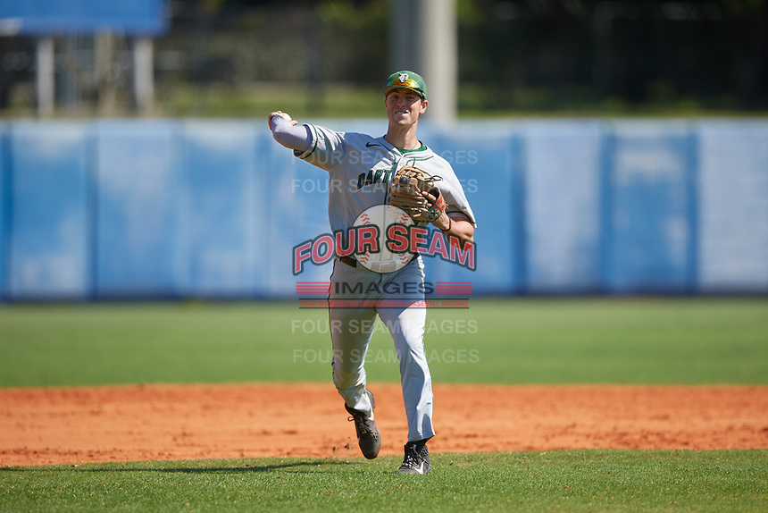 Dartmouth Big Green shortstop Nate Ostmo (5) throws to first base during a game against the Bradley Braves on March 21, 2019 at Chain of Lakes Stadium in Winter Haven, Florida.  Bradley defeated Dartmouth 6-3.  (Mike Janes/Four Seam Images)