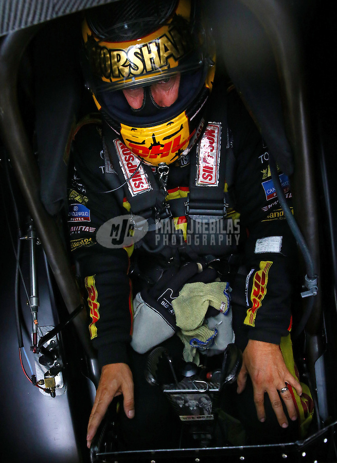 Aug. 31, 2013; Clermont, IN, USA: NHRA funny car driver Del Worsham in the cockpit of his car during qualifying for the US Nationals at Lucas Oil Raceway. Mandatory Credit: Mark J. Rebilas-