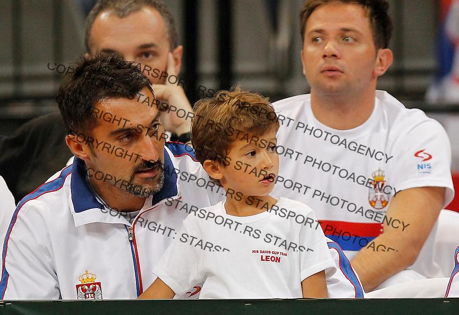 Tennis Tenis<br /> Davis Cup semifinal polufinale<br /> Serbia v Canada<br /> Janko Tipsarevic v Milos Raonic<br /> Nenad Zimonjic with son Leon<br /> Beograd, 13.09.2013.<br /> foto: Srdjan Stevanovic/Starsportphoto &copy;