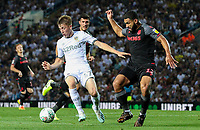Leeds United's Jack Clarke holds off the challenge from Stoke City's Cameron Carter-Vickers<br /> <br /> Photographer Alex Dodd/CameraSport<br /> <br /> The Carabao Cup Second Round- Leeds United v Stoke City - Tuesday 27th August 2019  - Elland Road - Leeds<br />  <br /> World Copyright © 2019 CameraSport. All rights reserved. 43 Linden Ave. Countesthorpe. Leicester. England. LE8 5PG - Tel: +44 (0) 116 277 4147 - admin@camerasport.com - www.camerasport.com