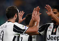 Calcio, Serie A: Juventus Stadium. Torino, Juventus Stadium, 29 ottobre 2016.<br /> Juventus&rsquo; Gonzalo Higuain, left, celebrates with teammate Sami Khedira after scoring the winning goal during the Italian Serie A football match between Juventus and Napoli at Turin's Juventus Stadium, 29 October 2016. Juventus won 2-1.<br /> UPDATE IMAGES PRESS/Isabella Bonotto