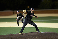 Louisville Cardinals starting pitcher Reid Detmers (42) in action against the Wake Forest Demon Deacons at David F. Couch Ballpark on March 6, 2020 in  Winston-Salem, North Carolina. The Cardinals defeated the Demon Deacons 4-1. (Brian Westerholt/Four Seam Images)