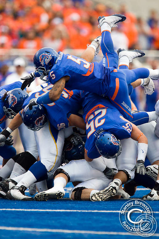 Boise State Broncos football defeated the San Jose State Spartans 45-7 in a NCAA football game in Boise Idaho.