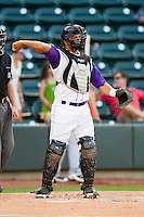 Winston-Salem Dash catcher Miguel Gonzalez #3 throws the ball back to his pitcher during the Carolina League game against the Potomac Nationals at BB&T Ballpark on June 13, 2012 in Winston-Salem, North Carolina.  The Dash defeated the Nationals 5-3.  (Brian Westerholt/Four Seam Images)
