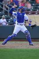 Brett Hayes #4 of the Omaha Storm Chasers throws to second base against the Las Vegas 51s at Werner Park on August 17, 2014 in Omaha, Nebraska. The Storm Chasers  won 4-0.   (Dennis Hubbard/Four Seam Images)