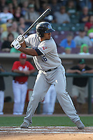 Lake County Captains catcher Alex Monsalve #36 bats during a game against the Dayton Dragons at Fifth Third Field on June 25, 2012 in Dayton, Ohio. Lake County defeated Dayton 8-3. (Brace Hemmelgarn/Four Seam Images)